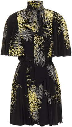 Valentino Tie-neck Printed Silk Mini Wrap Dress