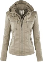 URqueen Women's Slim Moto Bomber Leather Hoodie Jacket XL