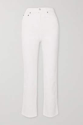 AGOLDE Pinch Waist Cropped High-rise Flared Jeans - White