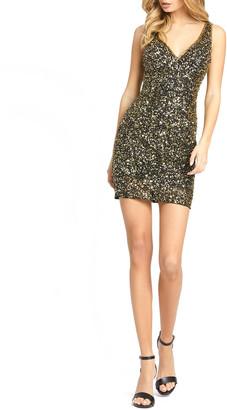 Mac Duggal V-Neck Sequin Mini Cocktail Dress