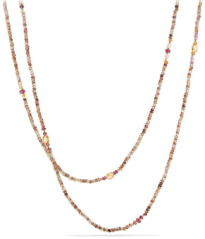 David Yurman Mustique Beaded Necklace with Andalusite, Citrine and Pink Tourmaline in 18K Yellow Gold