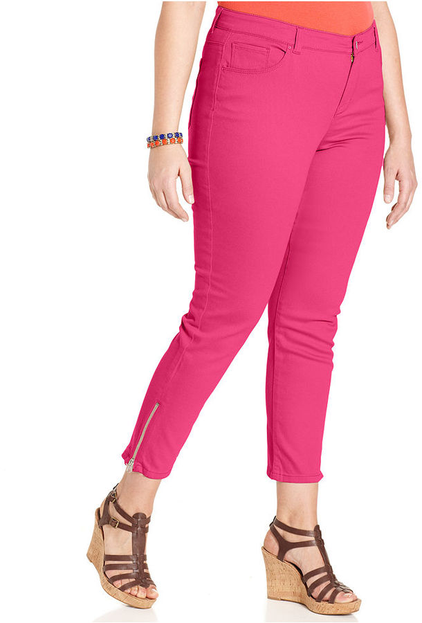 Style&Co. Plus Size Jeans, Colored Skinny Ankle-Zip
