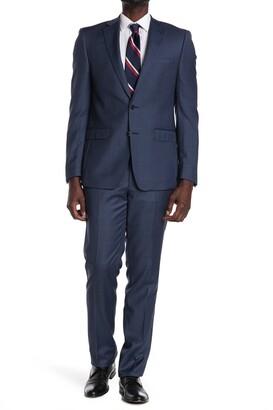 Calvin Klein Blue Plaid Wool Two Button Notch Lapel Suit