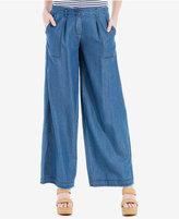 Max Studio London Frayed Wide-Leg Jeans