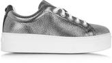 Kenzo K-Lace Argent Leather Platform Sneaker