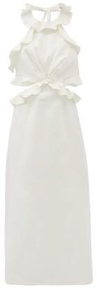 Zimmermann Lovestruck Halterneck Flounced Linen Dress - White