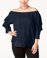 NY Collection Plus Size Ruffled Off-The-Shoulder Top