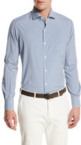 Loro Piana Alain S Gingham Silk-Cotton Pocket Shirt, White/Blue