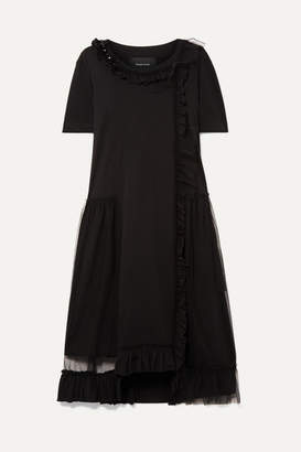 Simone Rocha Embellished Layered Tulle And Cotton-jersey Dress - Black