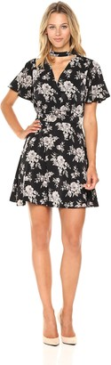 J.o.a. Women's Floral Print Fit and Flare Dress