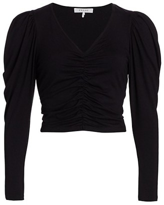 Frame Agnes Puff-Sleeve Ruched Crop Top