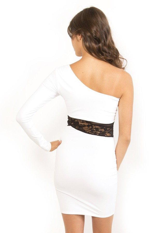 Donna Mizani One Shoulder Mesh/Lace Inset Dress in Bright White