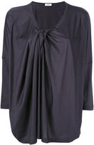 Jil Sander draped V-neck blouse - women - Cotton/Modal - S