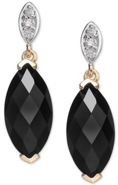 Macy's Onyx (12 x 6mm) & Diamond Accent Drop Earrings in 14k Gold