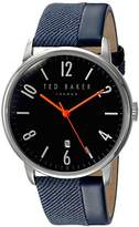 Ted Baker Men's 'DANIEL' Quartz Stainless Steel and Leather Dress Watch