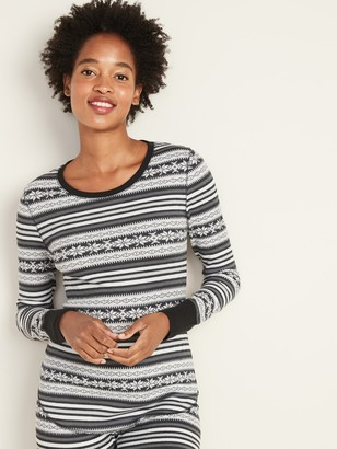 Old Navy Printed Thermal-Knit Long-Sleeve Tee for Women