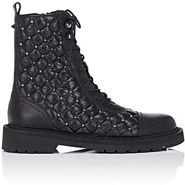 Valentino Women's Studded Leather Combat Boots - Black