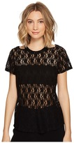 Nicole Miller Riley Stretch Lace Cut Out Top Women's Clothing