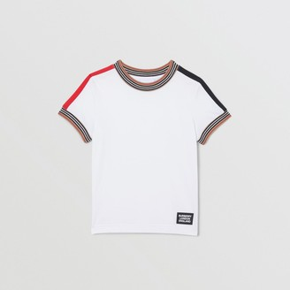 Burberry Childrens Icon Stripe Trim Cotton T-shirt