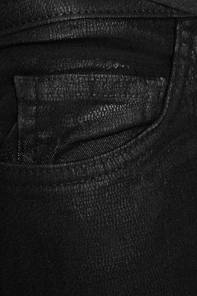 Current/Elliott The Ankle Skinny Mid-Rise Coated Jeans