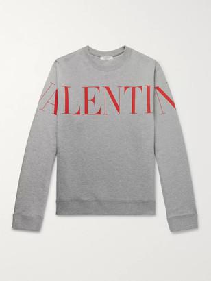 Valentino Logo-Print Melange Loopback Cotton-Blend Jersey Sweatshirt