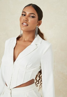 Missguided White Corset Cropped Blazer