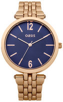 "Oasis Rose Gold Blue Dial Watch [span class=""variation_color_heading""]- Antique Gold[/span]"