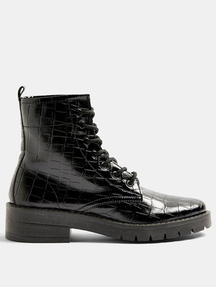 Topshop Buster Lace Up Boots - Black