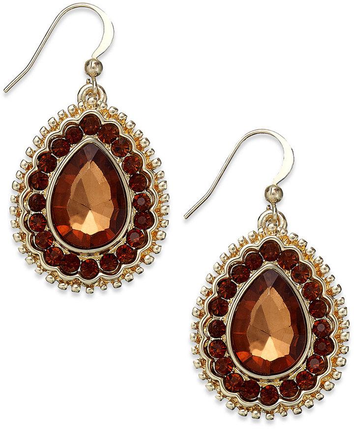 Style&Co. Earrings, Gold-Tone Smoky Topaz-Colored Teardrop Earrings