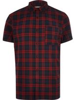 River Island MensRed check flannel short sleeve shirt
