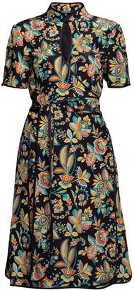 Rumour London Akiko Kimono-Style Silk Wrap Dress With Oriental Floral Print In Black