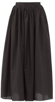 Matteau Gathered Cotton Maxi Skirt - Black