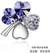Miki&Co Silver Swarovski Elements Women's Crystal Sweet Four Leaf Brooch, with a Gift Box