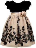 Jayne Copeland Velvet-Bodice Glitter-Flocked Gown, Toddler Girls (2T-5T)