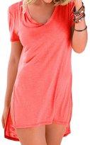 Min Qiao Women's Casual Swimwear Short Sleeve Beach Dress Bikini Bathing Suit Cover Up T-Shirt