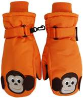 SimpliKids Boy's Winter 3M Thinsulate Waterproof Ski Mitten Gloves,XS,Orange Monkey