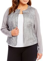 Peter Nygard Plus Embroidered Faux Leather Sweater Jacket