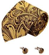 Y&G Gold Paisleys Silk Tie Cuff Links Set Black Pattern Gifts for the Groom Handmade A2106 black,gold