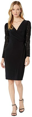 Lauren Ralph Lauren Jersey Lace-Sleeve Dress (Black) Women's Dress
