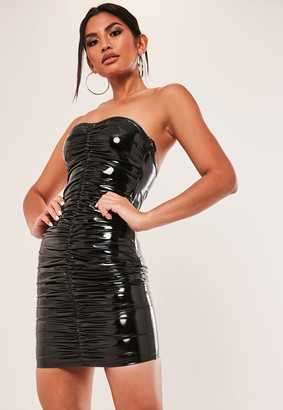 Missguided Black Vinyl Ruched Front Bandeau Mini Dress