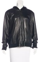 The Row Leather Hooded Jacket