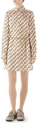 Gucci Stirrups Print Silk Twill Dress