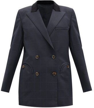 BLAZÉ MILANO Noa Everyday Checked Double-breasted Jacket - Navy