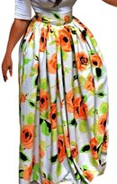 Dearlovers Vintage Summer Colorful Print High Waist Long Skirt X-Large