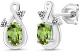 Gem Stone King 1.08 Ct Oval Green Peridot and White Diamond 18k White Gold Earrings