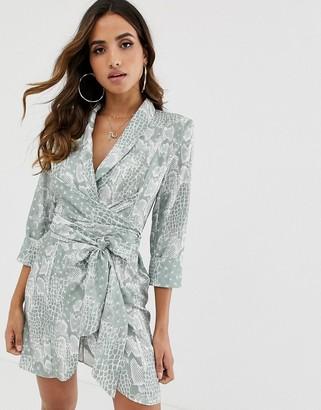 Asos DESIGN mini tux dress with self tie belt in snake print
