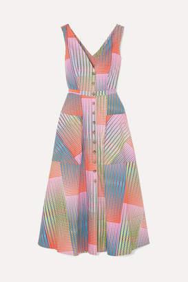 Saloni Zoey Cutout Printed Cotton-poplin Dress - Pink