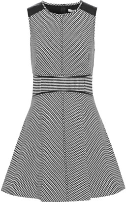 Derek Lam 10 Crosby Leather-paneled Houndstooth Cady Mini Dress