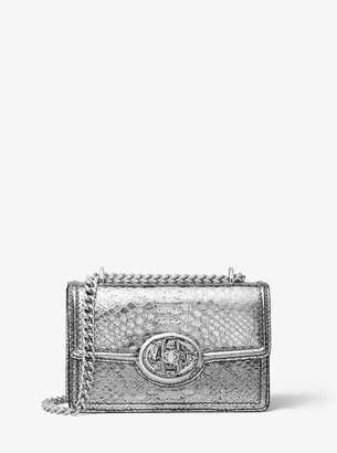 Michael Kors Monogramme Mini Metallic Python Embossed Leather Chain Shoulder Bag