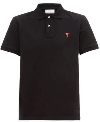 Ami Logo-embroidered Cotton-pique Polo Shirt - Mens - Black
